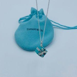 Tiffany & Co Blue Enamel Gift Box Charm Necklace
